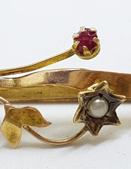 9ct Yellow Gold Red & Seedpearl Flower Bar Brooch – Antique / Vintage
