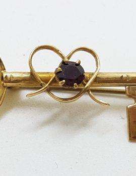 9ct Yellow Gold Garnet 21st Key Brooch – Antique / Vintage