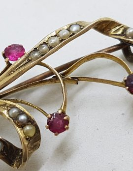 9ct Yellow Gold Red and Seedpearl Large Spray Brooch – Antique / Vintage