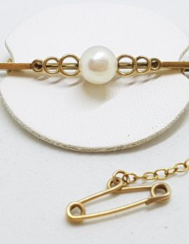 9ct Yellow Gold Cultured Pearl on Ornate Bar Brooch – Antique / Vintage