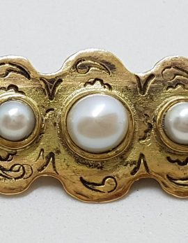 9ct Yellow Gold 5 Pearl Handmade Brooch – Antique / Vintage