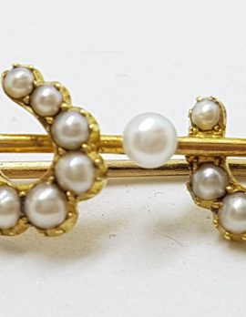 18ct Yellow Gold Seedpearl Double Horsehoe on Bar Brooch – Equestrian - Antique / Vintage