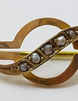 9ct Yellow Gold Seedpearl Round Twist Curve Bar Brooch - Antique / Vintage