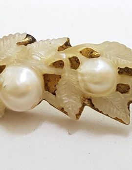 15ct Yellow Gold Carved Mother of Pearl and Pearl Ornate Leaf Motif Brooch – Antique / Vintage