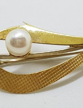 9ct Yellow Gold Cultured Pearl Large Curved Brooch – Antique / Vintage