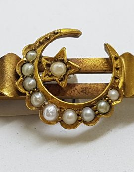 15ct Yellow Gold Seedpearl Ornate Crescent and Star Bar Brooch