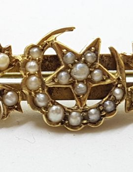 15ct Yellow Gold Seedpearl Ornate Floral Crescent and Star Bar Brooch - Antique / Vintage