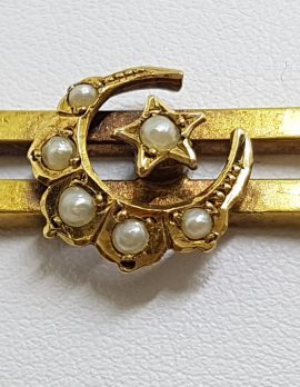 15ct Yellow Gold Seedpearl Crescent and Star Bar Brooch - Antique / Vintage