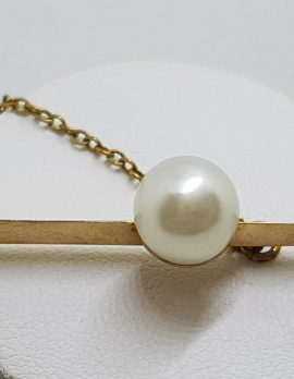 9ct Yellow Gold Cultured Pearl on Bar Brooch – Antique / Vintage