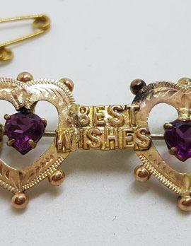 "9ct Yellow Gold 2 Hearts with Rhodolite Garnet "" Best Wishes "" Brooch – Antique / Vintage"