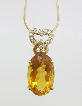 18ct Yellow Gold Oval Citrine with Diamond Heart Pendant on Gold Chain