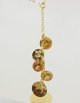 9ct Yellow Gold Long Round Disc Design Pendant on Gold Chain / Necklace with Matching Earrings - Set