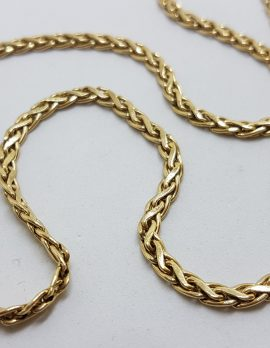 9ct Yellow Gold Thick Wheat Link Necklace