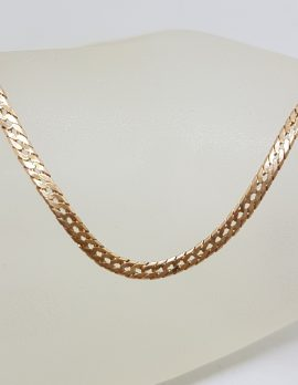 9ct Rose Gold Flat Flat Curb Necklace / Chain
