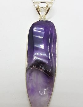 Sterling Silver Amethyst Crystal Long Drop Pendant / Chain