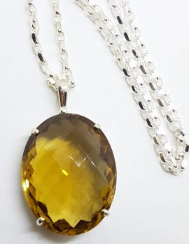 Sterling Silver Large Oval Citrine Pendant on Sterling Silver Chain