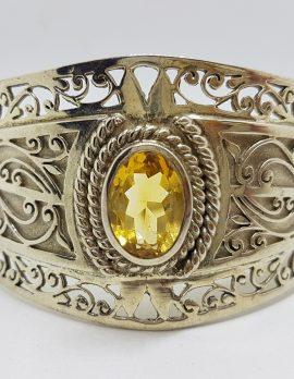 Sterling Silver Large Ornate Filigree Design Bangle - Wide - with Citrine