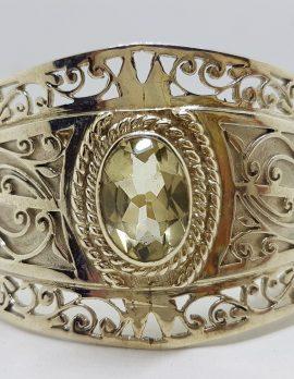Sterling Silver Large Ornate Filigree Design Bangle - Wide - with Green Amethyst / Prasiolite