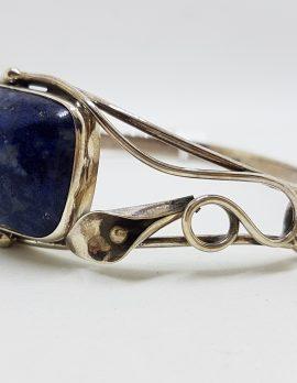 Sterling Silver Rectangular Lapis Lazuli Bangle - Ornate Lily Flower Design