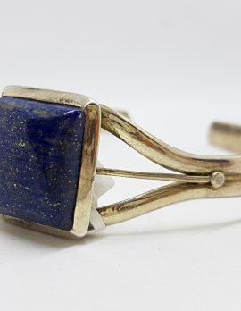 Sterling Silver Rectangular Lapis Lazuli Bangle
