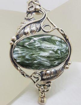 Sterling Silver Large Ornate Design Oval Seraphanite Bangle