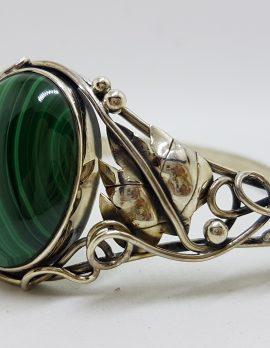 Sterling Silver Large Ornate Design Oval Malachite Bangle