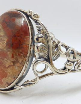Sterling Silver Large Ornate Design Oval Chrysocolla Cuprite Bangle