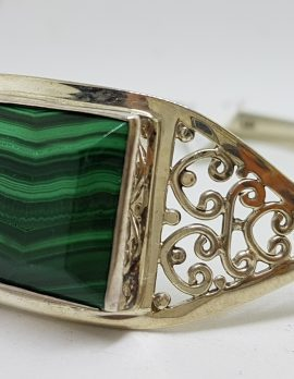 Sterling Silver Filigree Rectangular Malachite Bangle - Ornate