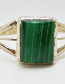 Sterling Silver Rectangular Malachite Bangle