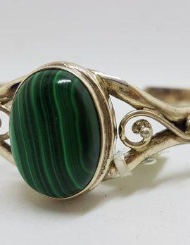 Sterling Silver Oval Malachite Ornate Bangle