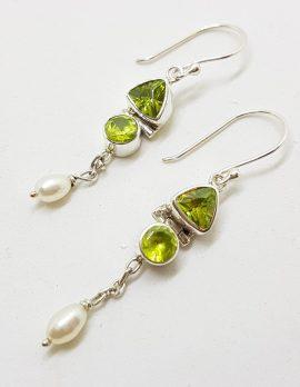 Sterling Silver Peridot & Pearl Drop Earrings