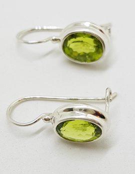 Sterling Silver Oval Bezel Set Peridot Earrings