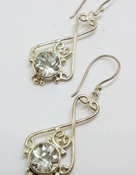 Sterling Silver Green Amethyst / Prasiolite Ornate Earrings