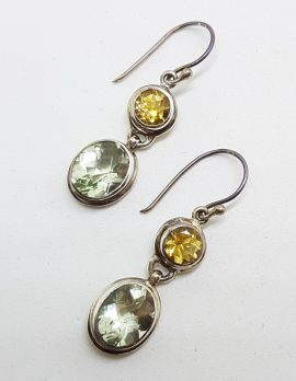 Sterling Silver Green Amethyst / Prasiolite & Citrine Earrings