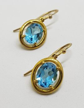 9ct Yellow Gold Oval Topaz Drop Earrings