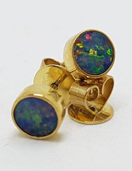 9ct Yellow Gold Round Bezel Set Opal Stud Earrings