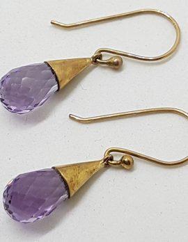 9ct Yellow Gold Amethyst Teardrop Cone Earrings