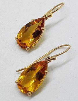 9ct Yellow Gold Teardrop Citrine Drop Earrings