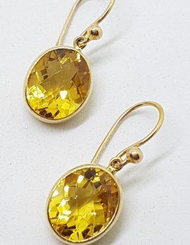 9ct Yellow Gold Oval Bezel Set Citrine Drop Earrings