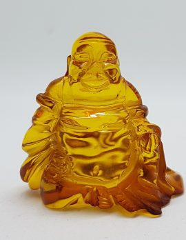 Hand Carved Natural Baltic Amber Small Buddha / Budai Figurine / Statue