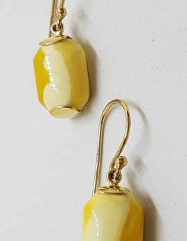 9ct Yellow Gold Rectangular Natural Baltic Butter Amber Drop Earrings