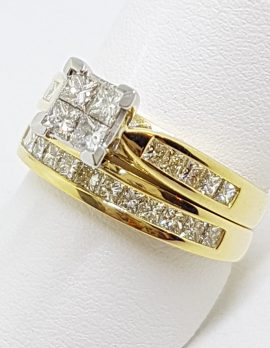 18ct Yellow Gold Channel & Claw Set Square Diamond Engagement Ring with Matching Wedding Band Set