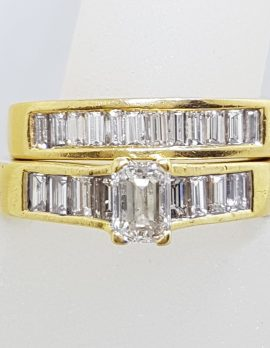 18ct Yellow Gold Channel & Claw Set Heavy Baguette Diamond Engagement Ring with Matching Wedding Band Set
