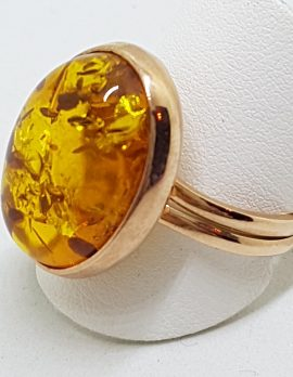 9ct Rose Gold Oval Amber Ring – Extendable