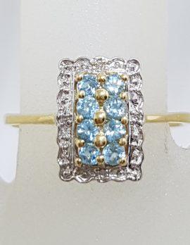 9ct Yellow Gold Rectangular Topaz & Diamond Cluster Ring