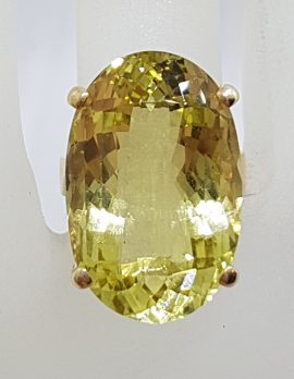 9ct Yellow Gold Large Oval Claw Set Citrine Cocktail Ring