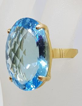 9ct Yellow Gold Large Oval Claw Set Topaz Cocktail Ring