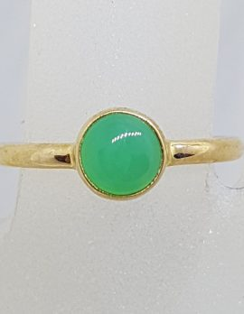 9ct Yellow Gold Round Australian Jade / Chrysoprase Ring – Stackable
