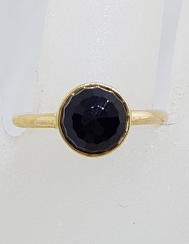 9ct Yellow Gold Round Onyx Ring – Stackable