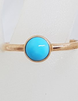 9ct Rose Gold Round Turquoise Ring – Stackable